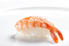Sushi nigiri with tiger shrimp  on a white background Stock Photos