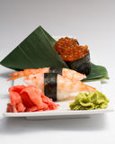Sushi nugiri with shrimp amd gunkan with ikura Royalty Free Stock Images