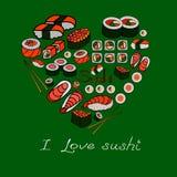 Sushi och rullar, vektorillustration Arkivfoton