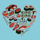 Sushi och rullar, vektorillustration Royaltyfria Foton