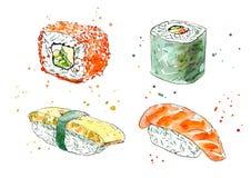 Sushi och rulle Japansk kokkonst stock illustrationer