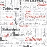 Sushi- och rullord, etiketter Royaltyfria Foton