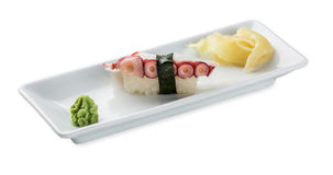 Sushi with octopus.Isolated on white Stock Photos