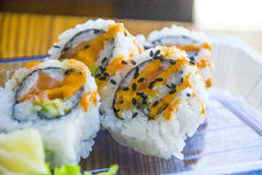 Sushi op Plastic Plaat Stock Fotografie