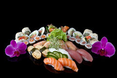 Sushi with orchid royalty free stock image