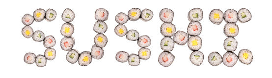Sushi out of sushi. The word sushi made out of pieces of sushi isolated on a white background without shadows Stock Images