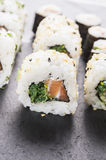 Sushi outside roll with salmon Stock Photos