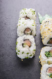 Sushi outside roll with salmon Royalty Free Stock Images