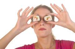 Sushi over Eyes Stock Image