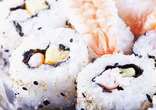 Sushi over plate Royalty Free Stock Photos