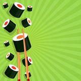 Sushi på en ljus bakgrund Royaltyfria Bilder