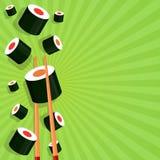 Sushi på en ljus bakgrund vektor illustrationer