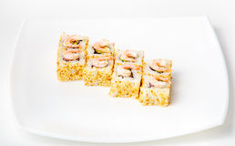 Sushi på en plätera Arkivbild