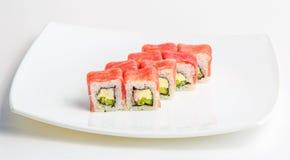 Sushi på en plätera Royaltyfri Fotografi