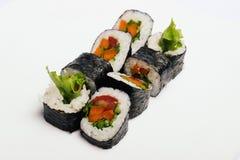 Sushi på vit Fotografering för Bildbyråer