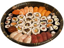Sushi party. A huge sushi plate with nigiri, maki and gunkan Royalty Free Stock Image