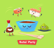 Sushi party. Soy sauce and sushi roll. Japanese Royalty Free Stock Photos