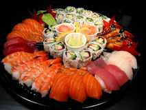 Sushi party tray stock photos