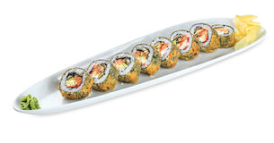 Sushi Patai Roll plate isolated on white Stock Image