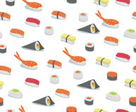 Sushi Pattern. Vector background illustration of various types of sushi in iconic style. Retro Seamless Pattern royalty free illustration