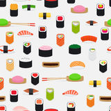 Sushi pattern with colorful flat elements Stock Photography