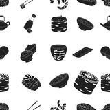 Sushi pattern icons in black style. Big collection of sushi vector symbol stock illustration. Sushi pattern icons in black style. Big collection of sushi vector vector illustration