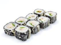 Sushi, petit pain, sushi japonais de fruits de mer, petit pain sur un fond blanc Image libre de droits
