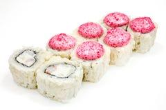 Sushi, petit pain, sushi japonais de fruits de mer, petit pain sur un fond blanc Photographie stock libre de droits