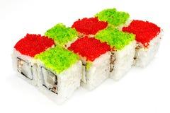 Sushi, petit pain, sushi japonais de fruits de mer, petit pain sur un fond blanc Image stock