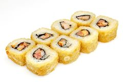 Sushi, petit pain, sushi japonais de fruits de mer, petit pain sur un fond blanc Photographie stock