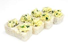 Sushi, petit pain, sushi japonais de fruits de mer, petit pain sur un fond blanc Photo stock