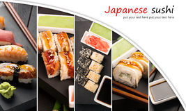 Sushi photo collage Stock Images