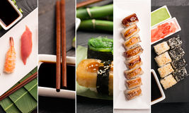 Sushi photo collage Royalty Free Stock Photography