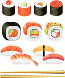 Sushi photo-realistic set Royalty Free Stock Photography