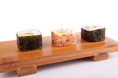 Sushi pieces. Isolated over white background Stock Photos