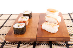 Sushi pieces. Isolated over white background Royalty Free Stock Photo