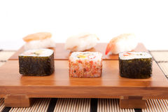Sushi pieces. Isolated over white background Stock Images