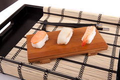 Sushi pieces. Isolated over white background Royalty Free Stock Photos