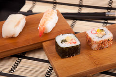 Sushi pieces. Isolated over white background Royalty Free Stock Photography
