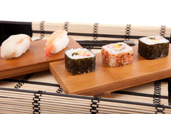 Sushi pieces. Isolated over white background Royalty Free Stock Image