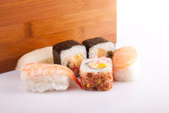 Sushi pieces. Isolated over white background Royalty Free Stock Images