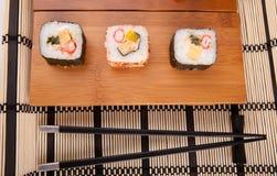 Sushi pieces. Isolated over white background Stock Image