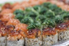 Sushi pieces collection. Sushi pieces and rolls collection, raw food Royalty Free Stock Photography