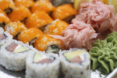 Sushi pieces collection. Sushi pieces and rolls collection, raw food Stock Images