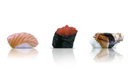Sushi pieces collection, isolated on white Royalty Free Stock Photo