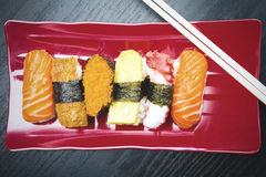 Sushi pieces served on the plate Stock Images
