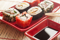 Sushi. Pieces with soy sauce Royalty Free Stock Photo