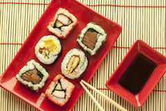 Sushi pieces. And soy sauce Royalty Free Stock Photography