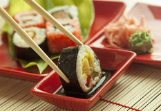 Sushi. Pieces with soy sauce wasabi and marinated ginger Stock Photography