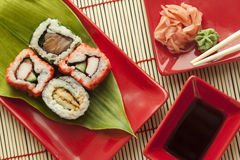Sushi. Pieces with soy sauce wasabi and marined ginger Stock Photo